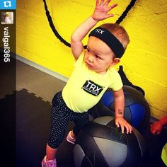 Check out @valgal365 doing her best impersonation of her dad @migueltrxsf #trx #trainatthesource #earnit #startThemYoung @trxtraining