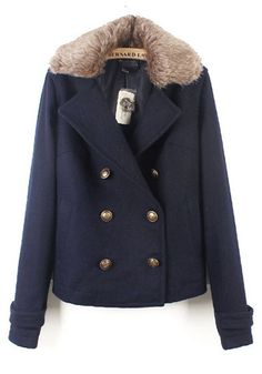 Navy Double Breasted Long Sleeve Coat