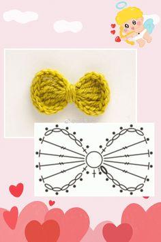 Best 12 Free Crochet Bow Tie – Step By Step Instructions – 52 Free Crochet Bow Patterns Crochet Bows Free Pattern, Crochet Bow Ties, Crochet Hair Bows, Crochet Hair Accessories, Crochet Flower Patterns, Crochet Diagram, Love Crochet, Crochet Motif, Beautiful Crochet