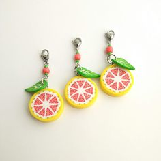 Grapefruit and leaf charms Citrus jewelry Vegan gift Handbag charm Food charms Charm keychain Stocking stuffer Cute keychain Progress keeper Fimo Clay, Polymer Clay Charms, Stocking Stuffers For Girls, Cute Keychain, Vegan Gifts, Valentines Day Party, Girl Gifts, Jewelry Findings, Grapefruit
