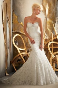 2013 Wedding Dresses Trumpet Mermaid Sweetheart Sweep Brush Train Lace Beading Sequince for sale, buy affordable prom evening party gowns at best online dress store. For any size, we can customize for you.