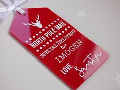 Great personalised perspex tag Etsy listing at https://www.etsy.com/uk/listing/484110403/personalised-personalized-santa-north