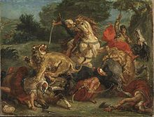 Eugène Delacroix - Animals—the embodiment of romantic passion—were incorporated into paintings such as Arab Horses Fighting in a Stable (1860), The Lion Hunt (of which there exist many versions, painted between 1856 and 1861), and Arab Saddling his Horse (1855).