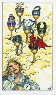 7 of Cups {r} It is a time for seeing beyond the illusion that both you and others have created. Action is now required and the time of reflection an inner-work for the moment is over. You now must implement any changes that are necessary. {Seven of Cups - Robin Wood Tarot}