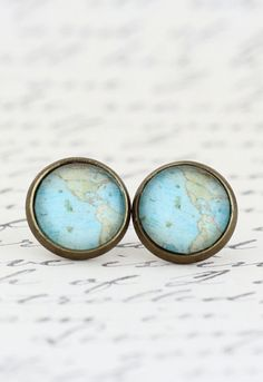 Earrings Jewelry Vintage Map - I can't even explain in words how much I love these