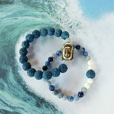 """This is a beautiful bracelet set handmade by me! They feature blue lava rocks, blue aventurine, white Howlite & a Buddha accent bead!   Stretchy bracelets - fits small wrists about 6 to 7""""  Howlite is a calming stone of awareness, aventurine promotes prosperity & friendship, and lava rock is a stone for grounding & stability.   ** Please no low offers. My jewelry is handmade & is priced in line with material costs & the time it takes for me to design & create, meaning your jewelry is unique!"""