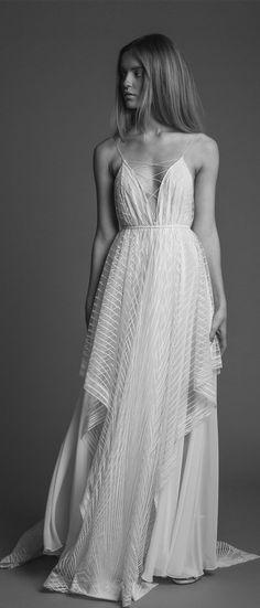 Spaghetti straps v neck v back layered a line wedding dress : Rinat Shacham Wedding Dresses The 2018 Bridal Collection #weddinggown #weddingdress #weddingideas #bride