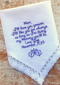 A personal favorite from my Etsy shop https://www.etsy.com/listing/167412372/embroidered-wedding-handkerchief