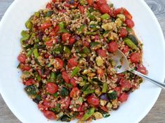 farro with roasted vegetables and roasted tomato dressing