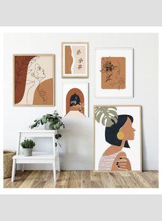 Boho Bedroom Decor, Bedroom Art, Home Wall Decor, Mini Canvas Art, Small Canvas Art, Canvas Wall Art, Framed Wall Art, Abstract Line Art, Abstract Portrait