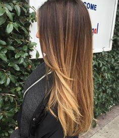 Brown+To+Caramel+Long+Ombre+Hair