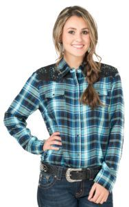 Cumberland Outfitters Women's Blue & Turquoise Plaid Long Sleeve Western Shirt | Cavender's