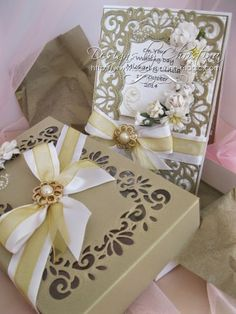 Antique Gold and White wedding card with box by Christina Griffiths