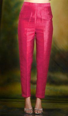 Hot Pink cigarette pants pencil trousers in silk fabric. Churidar Designs, Kurta Designs Women, Kurti Neck Designs, Blouse Designs, Lehenga Choli, Anarkali, Salwar Pants, Plazzo Pants, Salwar Dress