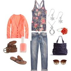 """""""Weekend"""" by kristen-344 on Polyvore - I love everything about this outfit! In the fall I would pair it with skinny jeans and brown boots. :)"""
