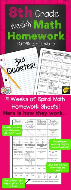 EIGHTH GRADE Spiral Math Homework, Warm up, or Math Review for the THIRD Quarter!! -- 100% EDITABLE -- Aligned with the 8th Grade Common Core Math Standards. ANSWER KEYS included. Paid