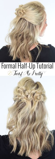 A gorgeous half-up style that works perfectly on medium length hair!  Tutorial at Twist Me Pretty