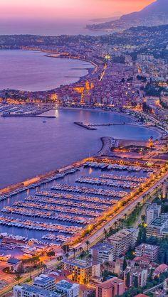 Sunset at Menton port in de Alpes-Maritimes department, Provence-Aples-Côte d'Azur region_ France