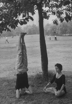People practicing yoga in Central Park. Location:	New York Date taken:June 20, 1961 Photographer:	Leonard Mccombe