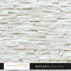 Fireplace tile. White Birch Ledgestone Collection Veneer, Birch Collection Thin Stone Veneer, Birch Collection Veneers from Realstone Systems