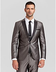 Black&Gray Polyester Tailored Fit Two-Piece Tuxedo