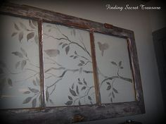 old window with a stenciled view, home decor, repurposing upcycling Window Art, Window Frames, Window Ideas, Antique Windows, Old Windows, Rustic Windows, Old Window Crafts, Empty Picture Frames, Shabby