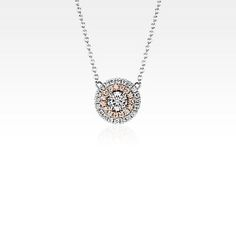 Monique Lhuillier Double Halo Pendant in White and Rose Gold ct. Diamond Hoop Earrings, Diamond Jewelry, Monique Lhuillier, 18k Rose Gold, Bridal Accessories, Jewelry Collection, Halo, Fine Jewelry, Blue Nile