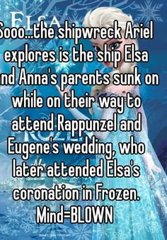 Sooo...the shipwreck Ariel explores is the ship Elsa and Anna's parents sunk on while on their way to attend Rappunzel and Eugene's wedding, who later attended Elsa's coronation in Frozen. Mind=BLOWN