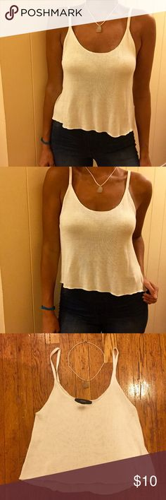 Cute & Simple Knit Top Cute and simple knit top. Color is all white. Sleeveless- Spaghetti straps. Size is a medium. Material is 100% viscose. Material is light and comfortable. Dress this top down and wear it casual, or dress it up for a night out... Your choice! Forever 21 Tops Camisoles