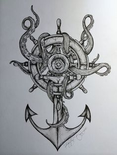 Awesome anchor and tentacle tattoo design. If I were to get this I'd get it on my wrist/forearm