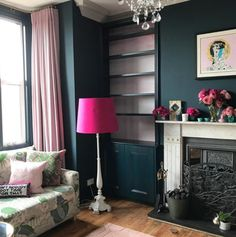 Farrow & Ball Hague Blue and Pink Paint Color Scheme Living Room Blue And Pink Living Room, Blue Curtains Living Room, Navy Living Rooms, Blue Rooms, Room Interior Colour, Living Room Interior, Living Room Decor, Interior Doors, Interior Ideas