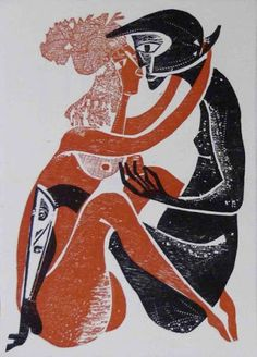 Hansen Bahia   Casal   Xilogravura retirada de livro alemão   35x25cm