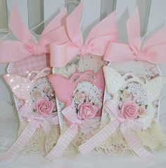 Shabby Chic Butterfly Rose Gift Tags by PaperBistro on Etsy, $14.50