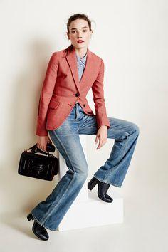 shirt, blazer, wide leg jeans, ankle boots