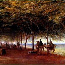 The Pyramids Road, Gizah, 1873  by  Edward Lear, (1812-1888), English artist