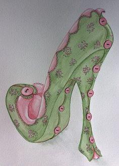 Shoe Art 2 Fashion Illustration Shoes, Illustration Art, Art Illustrations, Fashion Illustrations, Peacock Shoes, Porcelain Doll Makeup, High Heels Boots, Halloween Shoes, Fairy Shoes
