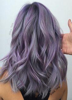 Ash Blonde Ombre Hair, Purple Grey Hair, Silver Ombre Hair, Light Purple Hair, Ombre Hair Color, Cool Hair Color, Purple Ombre, Ombre Balayage, Gray Hair