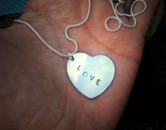 Love Pendant Heart Pendant Necklace Hand Stamped by SeabeatJewelry