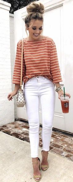 outfit of the day | stripped top + plaid bag + white skinnies + heels