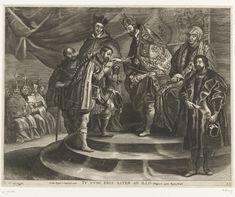 Antony van der Does | Troonsafstand van Karel V; intocht van Ferdinand te Gent in 1635 (blad 25), Antony van der Does, Gaspar de Crayer, Peter Paul Rubens, 1635 - 1636 | Troonsafstand van Karel V op 25 oktober 1555 waarin hij de regering van de Nederlanden overdraagt aan zijn zoon Filips. De keizer staande voor de troon, naast hem zit zijn zuster Maria van Hongarije. Verder aanwezig: Viglius van Aytta en kardinaal Granvelle. Filips II kust de hand van zijn vader. Voorstelling op een zijwand…