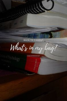 Back to Campus: What's in my bag? What In My Bag, Uplifting Quotes, News Blog, My Bags, Textbook, Student, How To Plan, Day, Motivating Quotes