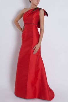 Carolina Herrera gown available with pink trim at L'elite.  617.424.1020