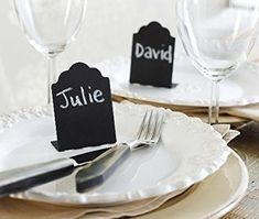 "Tin Chalkboard Placecards - I Do Boutique  Use as placecards, table numbers, or to label buffet foods. These standing placecards measure 2""x3"""