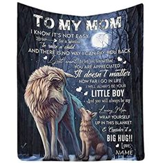 To My Mom Woft Blanket From Son/DaughterMother's Day | Etsy Wolf Boy Anime, Wolf Background, Cute Wolf Drawings, Funny Wolf, Wolf Love, Wood Carving Patterns, Lion Family, I Love Mom, Presents For Mom