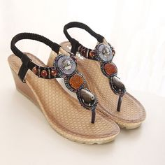 Summer fashion wedges heels/Beaded thong sandal/Girls casual shoes *** Want additional info? Click on the image.
