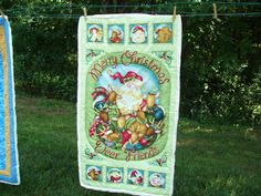 """Merry Christmas Deer Friends Lap Quilt or Wall Hanging 24"""" X 43"""" Free Shipping by brendaperrygrable on Etsy"""
