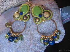 Orecchini ceramica verde prato  tecnica di jewelrysoutache su Etsy, €26.00