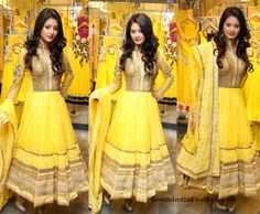 HALDI DRESS- India Fashion /// Dazzling Anarkali Suit by Neeru's Celebrity Sarees, Designer Sarees, Bridal Sarees, Latest Blouse Designs 2014 South India ...