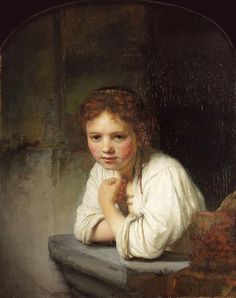 Rembrandt Harmensz van Rijn, Girl at a Window, oil on canvas, By Permission of the Trustees of Dulwich Picture Gallery, London. Leiden, Vincent Van Gogh, Rembrandt Paintings, Rembrandt Portrait, Rembrandt Art, Rembrandt Drawings, Art Paintings, Painting Art, Dulwich Picture Gallery