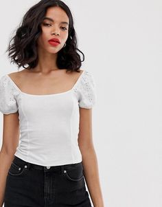 5e185b29d736 Monki broderie anglaise top with puff sleeves in white